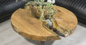Couchtisch rund mit spektakulärem Mittelglas