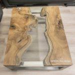 Massivholz couchtisch aus Baumscheiben